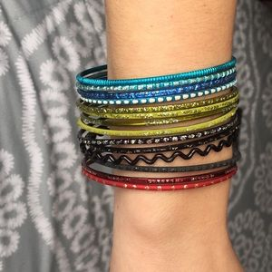 Jewelry - Blue, red, black, and green metal bengal bracelets